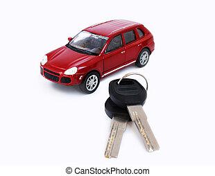 Toy car model with keys