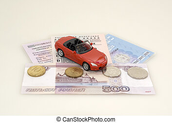 Toy car, money and documents