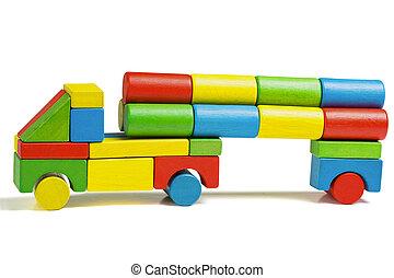 toy car, multicolor truck wooden blocks transportation cargo