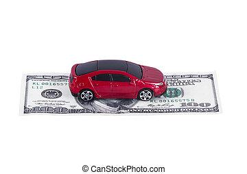 Toy Car on Single Dollar Banknote
