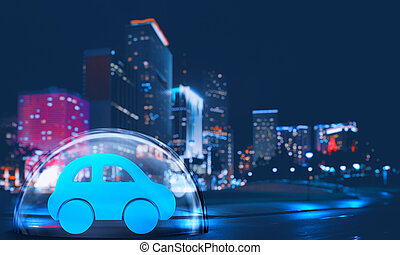 Toy car safely inside a shield dome in the city at night. Protection and insurance concept