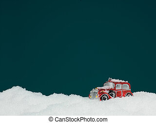 toy car stuck in snow