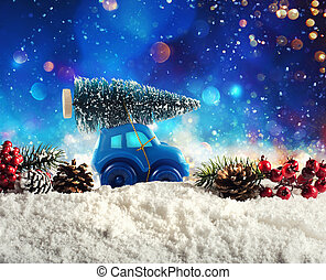 Toy Car that transport a Christmas tree