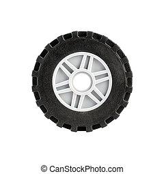 Toy car wheel isolated on white background