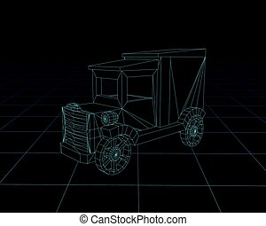 Toy car wireframe, perspective 3d technology vector illustration