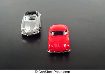 Toy cars on road