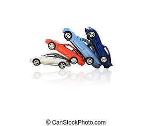 Toy cars on white