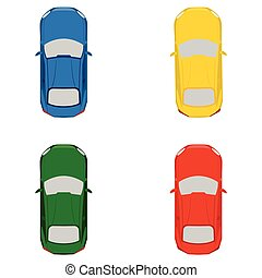 Toy cars set - Vector illustration top view on colorful toy...