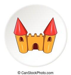 Toy castle icon, cartoon style