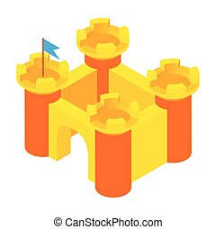Toy castle icon, cartoon style