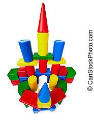 Toy castle made ??of multicolored plastic blocks