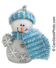 Toy christmas snowman isolated