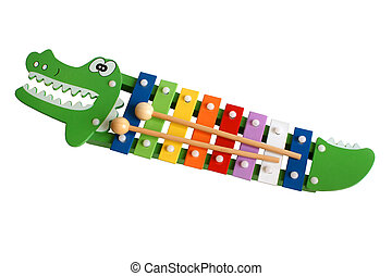 Toy colorful xylophone isolated on the white background