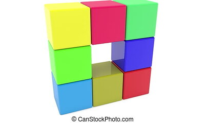 Toy cubes in various colors
