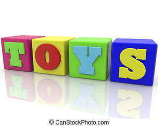 Toy cubes in various colors with toys concept