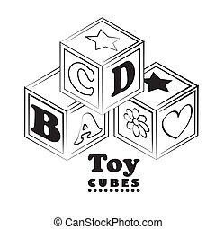 toy cubes over white background vector illustration