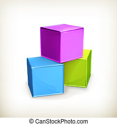Toy cubes, vector