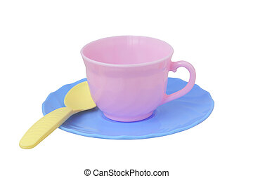 toy cup, saucer and spoon