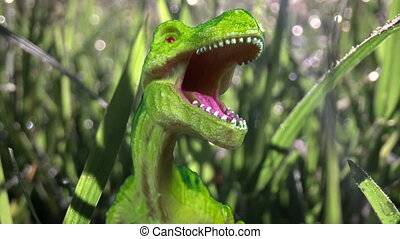 Stop motion of plastic toy dinosaur moving towards the camera in plants, roaring, hiding, threats