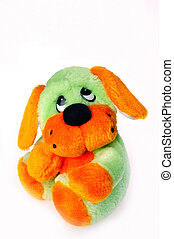 TOY DOG - A lovely toy dog is on white background...