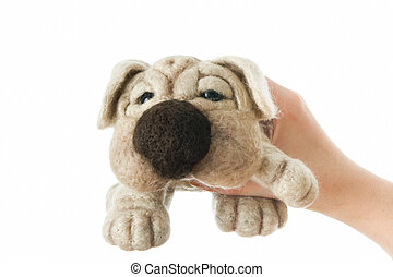 Toy dog in a gift - Toy dog on white background. Gift for...