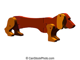 Toy Dog - Three-D illustration of old fashion toy dog