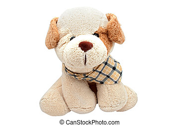 Toy dog - Soft toy dog with a scarf on a white background