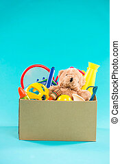 Toy. Donation box with  unwanted items for poor
