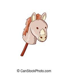 Toy donkey icon, cartoon style