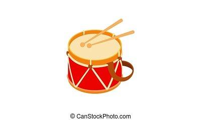 Toy drum animation of cartoon icon on white background