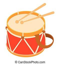 Toy drum icon, cartoon style
