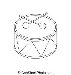 Toy drum icon, isometric 3d style