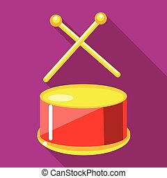 Toy drum with drumsticks icon, flat style