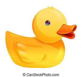 Toy duck - toy yellow  duck isolate on white background