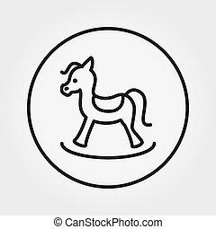toy., editable, icon., horse., ライン。, 薄くなりなさい, vector., 動揺, 普遍的