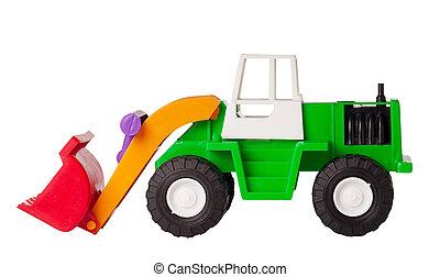 Toy excavator isolated