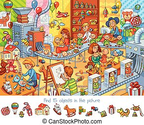 Toy factory. Find 15 objects in the picture. Funny cartoon character. Vector illustration
