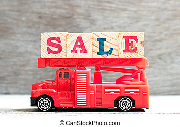 Toy fire ladder truck hold letter block in word sale on wood...