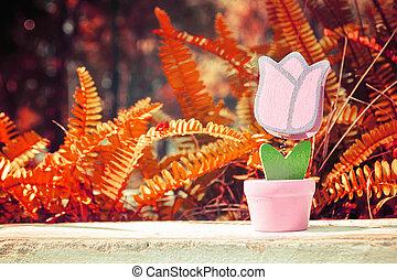 Toy Flower with grass in valentine day