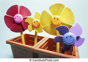 Toy Flowers in Pots