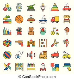 Toy for children and baby icon set 1/3, filled outline icon