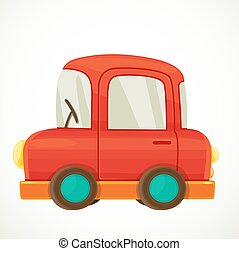 Toy for toddlers red car object isolated on white background