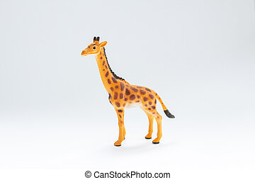 toy giraffe on a white background