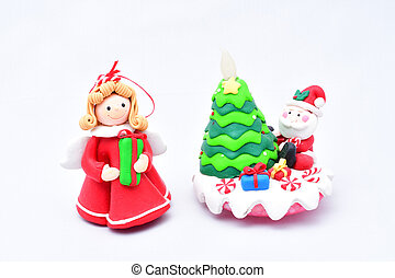 oy green Christmas tree, Santa Claus with gifts, snow maiden