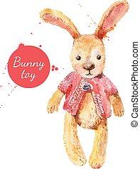 toy., gruß, abbildung, aquarell, vektor, kaninchen, karte