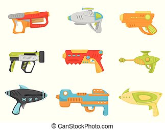 Toy gun set, weapon pistols and blasters for kids game...