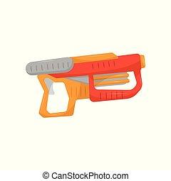 Toy gun, weapon pistol for kids game vector Illustration on...