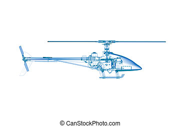 Toy helicopter (3D xray blue transparent on white)