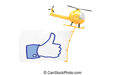 toy helicopter with like button sign