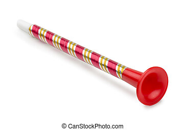 Toy horn - Red plastic toy horn isolated on white